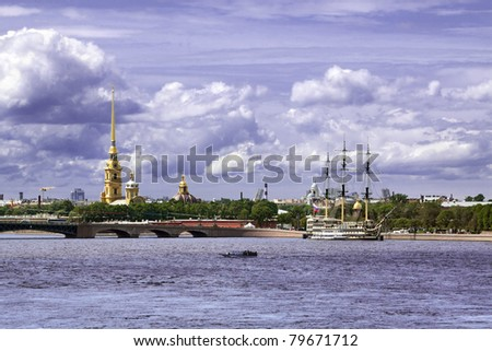 City landscape of St.-Petersburg, kind on Peter and Paul Fortress through the river Neva