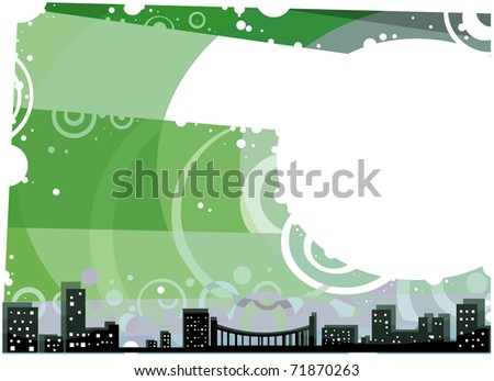 city landscape outline with Green Sky and White copy Space; postcard