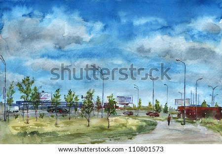City landscape. Urban landscape near a highway. Cloudy sky. Watercolor painting.