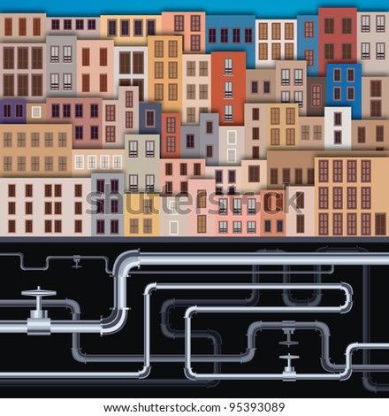 City Landscape with facade of old buildings and tubes