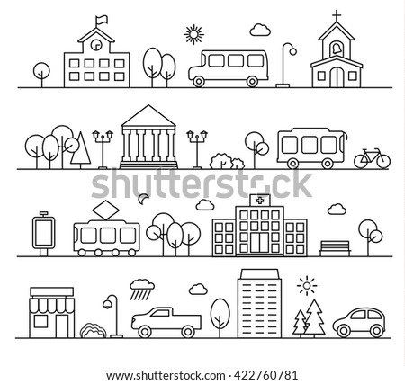 City landscapes set in linear style. With buildings, city transport, people, shop etc.