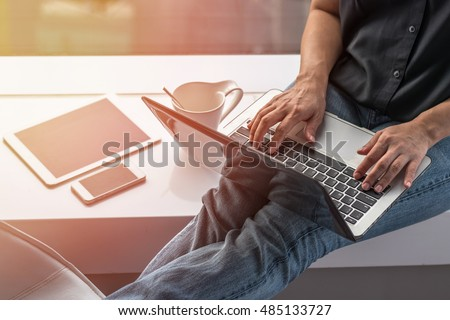City lifestyle woman hands working on computer typing laptop keyboard using wifi IOT IT SEO 4g 5G cyber internet online digital media PPC interactive technology pc device in office space environment
