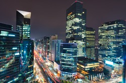 City lights in the Gangnam district of Seoul, South Korea.