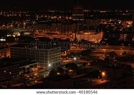 City lights of buildings in the evening from a birds view