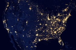 City lights Of USA,Elements of this image are furnished by NASA