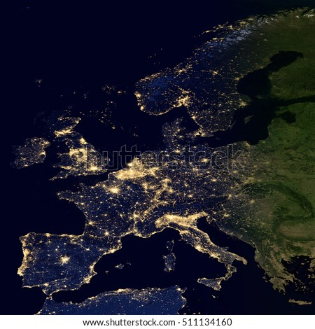 City lights on world map. Europe. Elements of this image are furnished by NASA #511134160