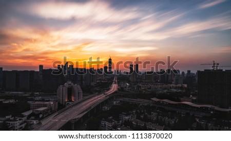 City Main Road Sunset, Nanjing New City #1113870020
