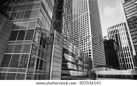 City modern architecture in perspective, tall buildings in black and white #307036145