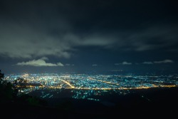 City night from the view point on top of mountain , Hat Yai, Thailand