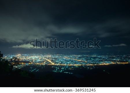City night from the view point on top of mountain , Hat Yai, Thailand #369531245