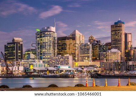 city night scape at sunset in...