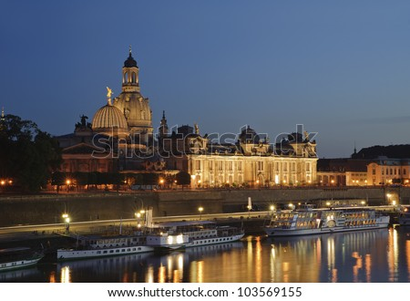 city night scenic in Dresden, germany.