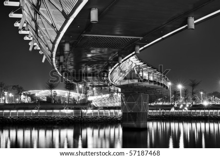 City night scenic with beautiful bridge over river.