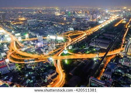 City night view in Bangkok #420511381