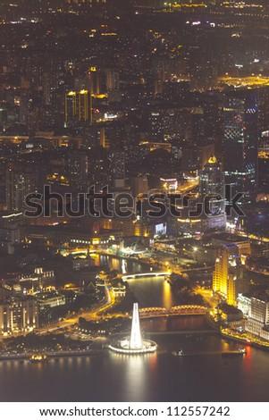 city night view of shanghai huangpu river