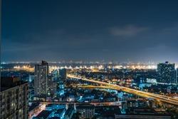 City night view shot. beautiful downtown night light, urban lifestyle