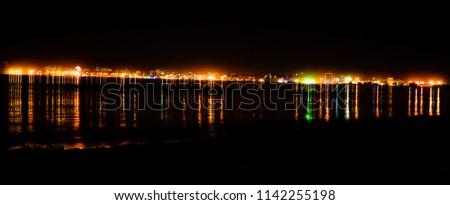 city Odessa, Odessa region / Ukraine - 2016 year. Night Port Lights #1142255198
