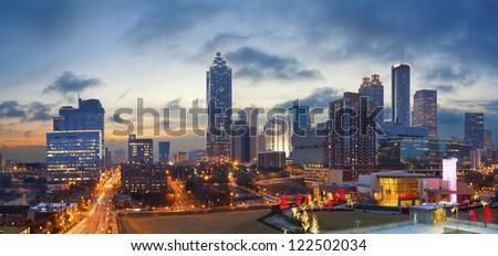 City of Atlanta. Panoramic image of the Atlanta skyline during sunrise.