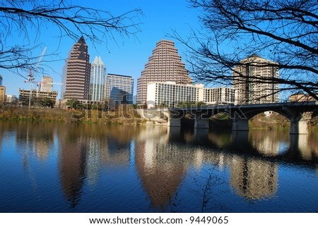 City of Austin downtown district reflecting on beautiful Lady Bird Lake, formerly Town Lake