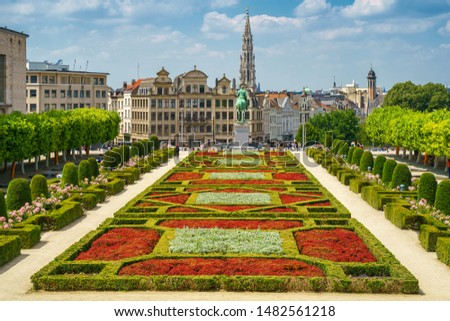 City of Brussels skyline in summer day. Cityscape view from Kunstberg, Mont des Arts to city hall and central old town. Belgium, Europe #1482561218
