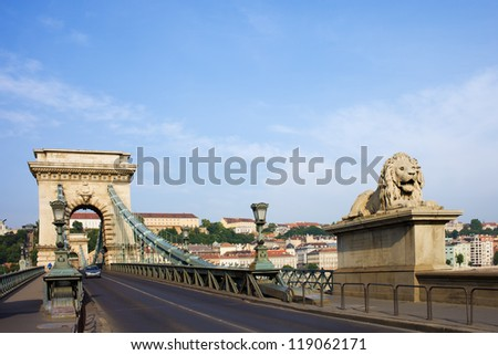 City of Budapest urban scenery, street on the Szechenyi Chain Bridge (Hungarian: Szechenyi Lanchid), composition with space for text.
