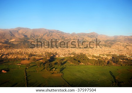 City of Cajamarca, Peru viewed from the air