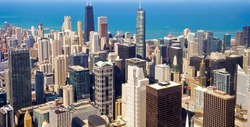 City of Chicago. Aerial view of Chicago downtown
