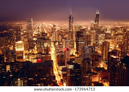 City of Chicago. Aerial view of Chicago downtown at nigh from high above. #173964713