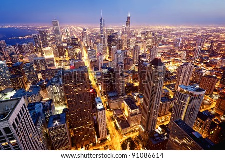City of Chicago. Aerial view  of Chicago downtown at twilight from high above. #91086614