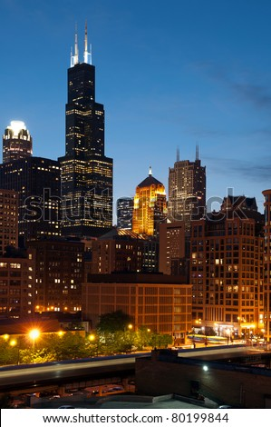 City of Chicago after sunset