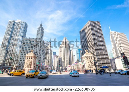 City of Chicago downtown USA
