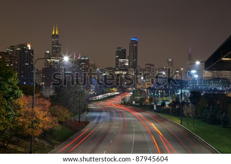 City of Chicago. Image of modern dynamic city of Chicago at night.