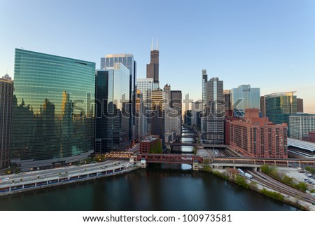 City of Chicago. Image of the Chicago downtown district at sunrise.