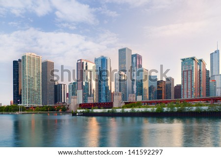 City of Chicago USA,   colorful sunset panorama skyline of downtown with business buildings