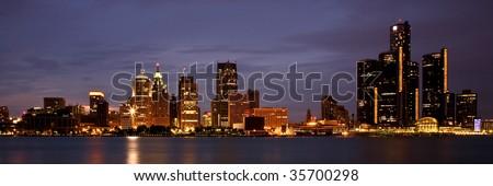 City Of Detroit Skyline on the Detroit River Detroit, Michigan