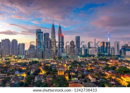 City of Kuala Lumpur, Malaysia at sunrise #1242738433