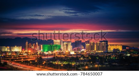 City of Las Vegas Skyline at Scenic Dusk. Colorful Lights of the World Famous Sin City. Nevada, United States.