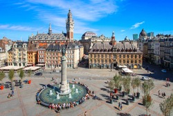 City of Lille (north of France) - Main square with belfry and