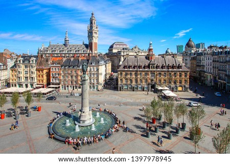 City of Lille (north of France) - Main square with belfry and 'Vieille Bourse' Сток-фото ©