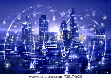 City of London at sunset and business network connections concept illustration with lots of business icons. Technology, transformation and innovation idea.  #730174630