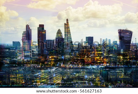 City of London multiple  exposure image includes skyscrapers of business district at sunset. UK