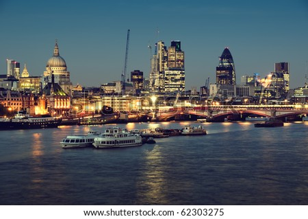 City of London one  at night.