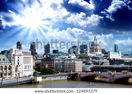 City of London one of the leading centers of global finance and St Paul Cathedral on foreground.