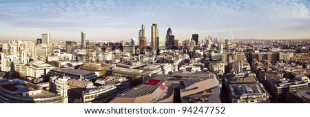 City of London one of the leading centres of global finance. This panoramic view includes Tower 42, Gherkin,Willis Building, Stock Exchange Tower, Lloyd`s of London, the Tower Bridge and Canary Wharf.