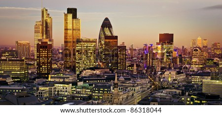 City of London one of the leading centres of global finance.This view includes Tower 42 Gherkin,Willis Building, Stock Exchange Tower and Lloyd`s of London and Canary Wharf at the background.