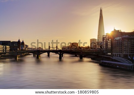 City of London skyline at sunrise, UK