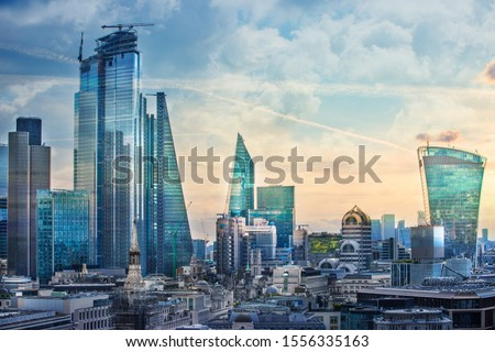 City of London view, business, banking and office area. London, UK