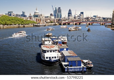City of London view from Waterloo Bridge. This view includes: St. Paul`s Cathedral, The Gherkin, Tower 42, and Blackfriars Bridge.