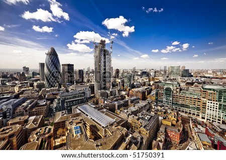 City of London, wide angle view of the capital, looking West towards St. Paul's cathedral.