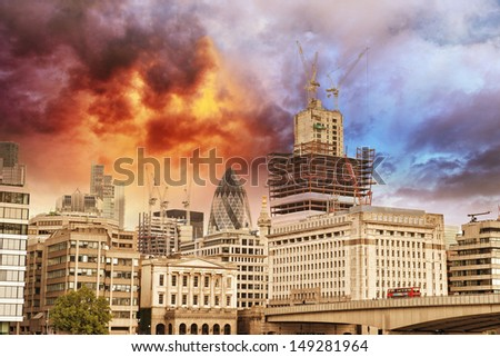 City of London with Typical Modern Architecture - Beautiful sunset colors.